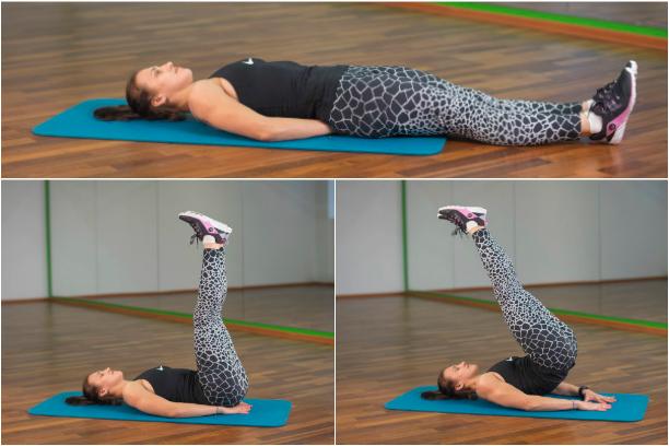 Подъем ног лежа для тренировки мышц низа живота