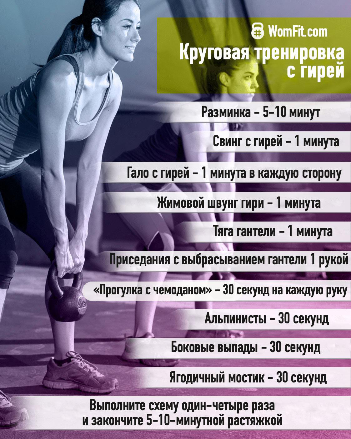 Круговая тренировка с гирей или гантелей