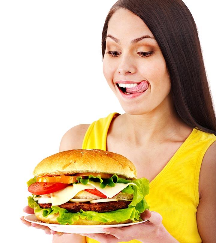 девушка и бургер
