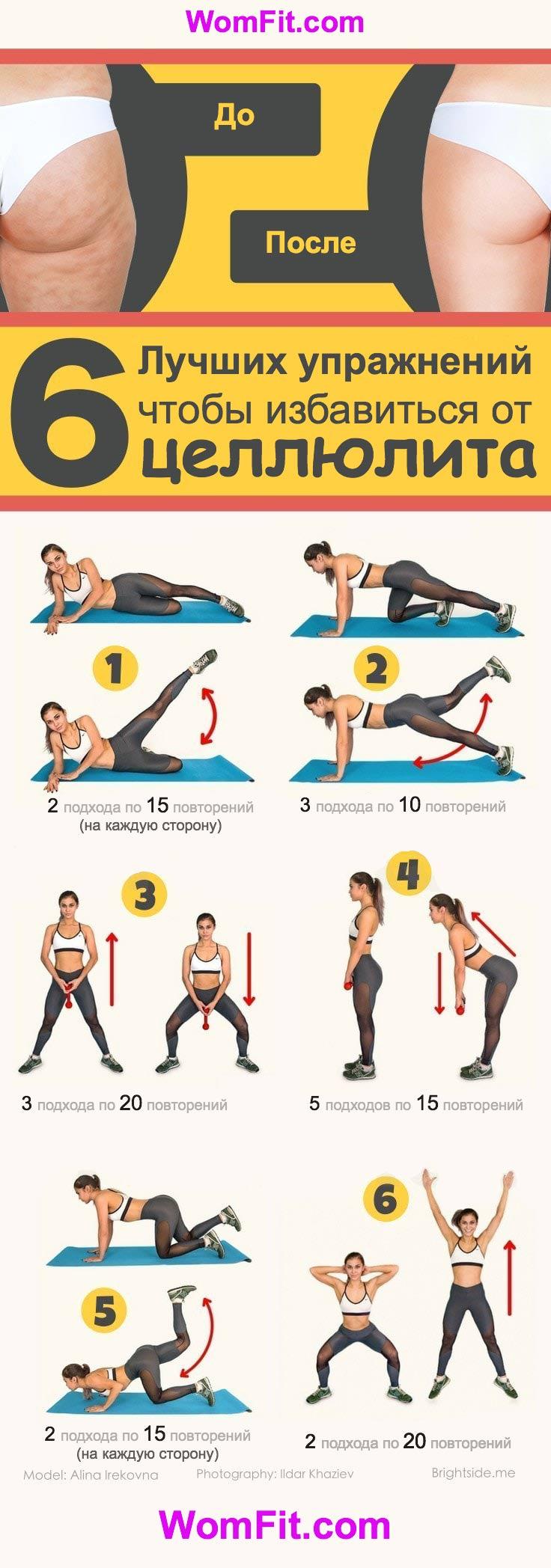 Упражнения от целлюлита на ногах и ягодицах