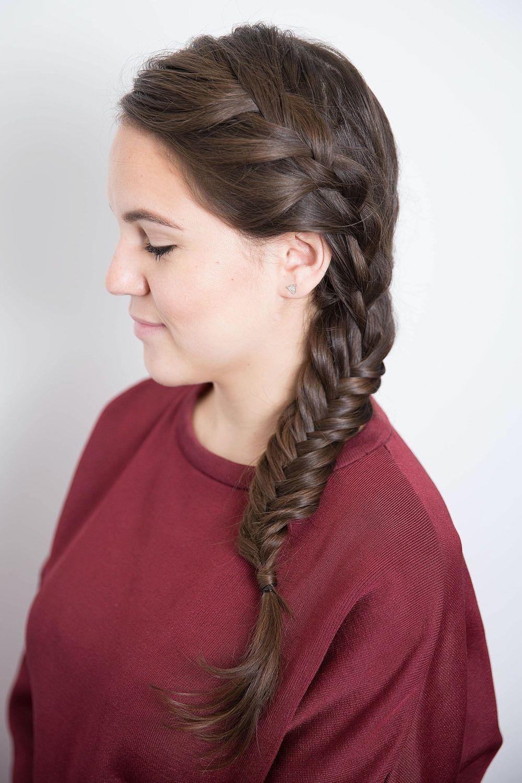 Французская коса колосок, рыбий хвост