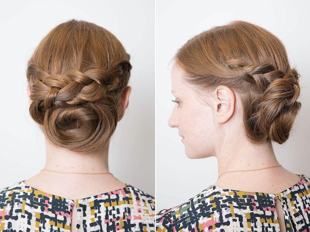 Плетеный пучок на голове